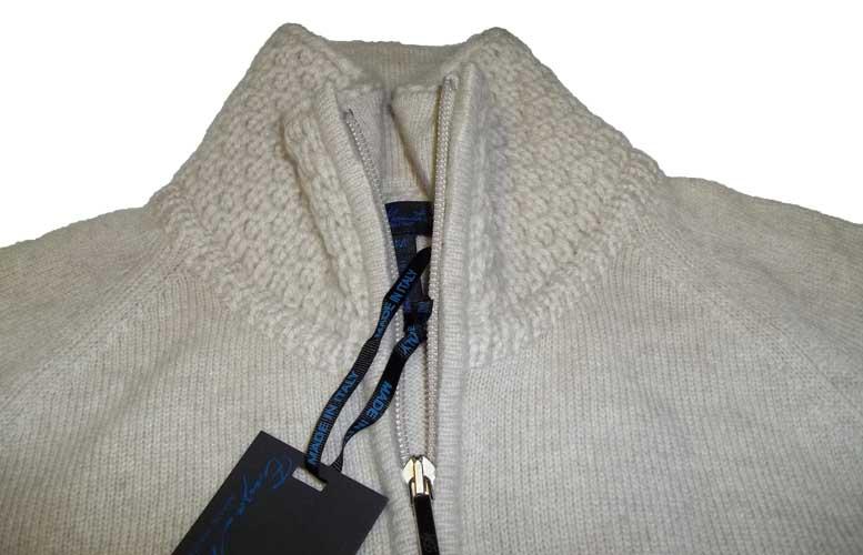 Enzo mantovani womens cashmere full zip mock neck sweater for Enzo mantovani