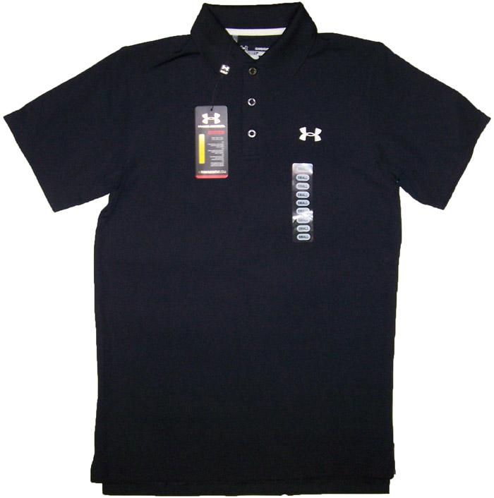 Under armour heatgear mens ua golf polo shirts black nwt for Under armour heat gear button down shirt