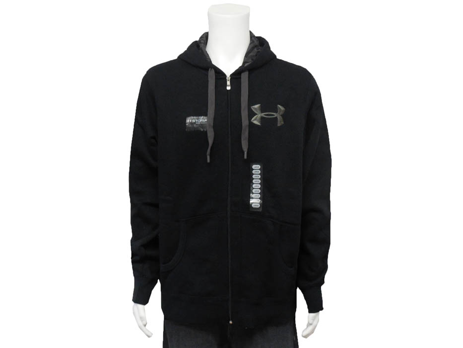 Under Armour Men's Cold Gear UA Performance Zip Up Hoodie NWT. Colors: Black (Pictured) and Gray. Material: 80% Cotton and 20% Polyester