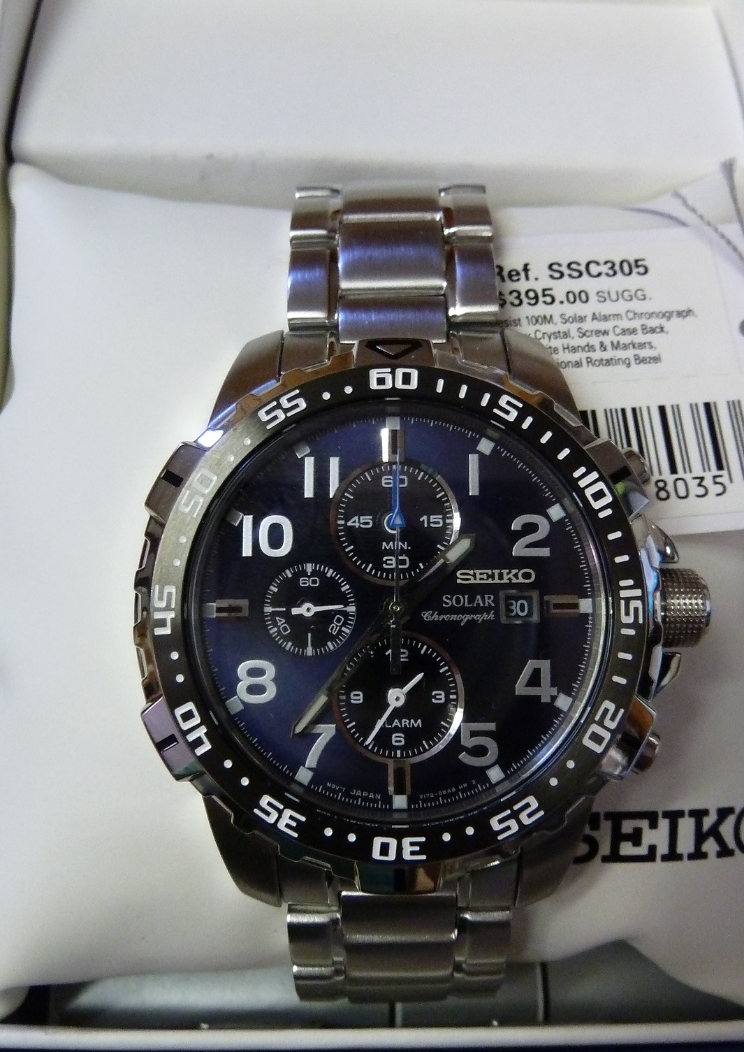 seiko men 39 s ssc305 solar chronograph watch 395 ebay. Black Bedroom Furniture Sets. Home Design Ideas